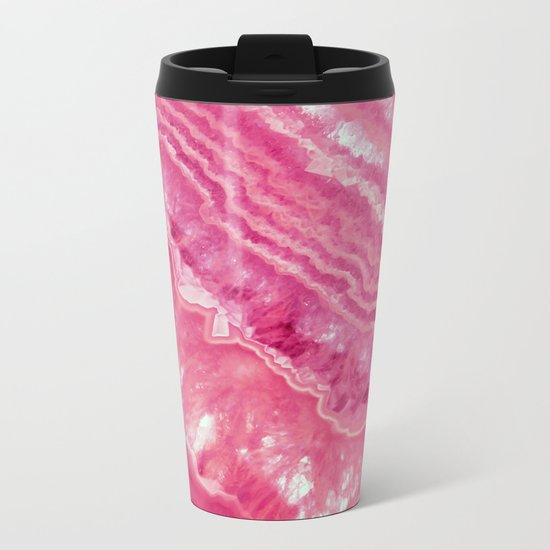 Pink marble Metal Travel Mug