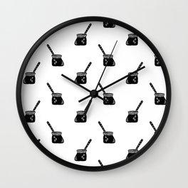 Turkish Coffee Pot food linocut coffee foodie black and white Wall Clock