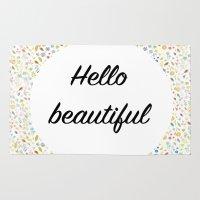 hello beautiful Area & Throw Rugs featuring Hello Beautiful by Estef Azevedo