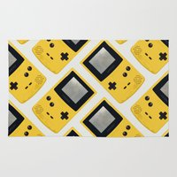 gameboy Area & Throw Rugs featuring Gameboy Color: Yellow (Pattern) by Zeke Tucker