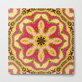 Sweet Happiness Floral Mandala Metal Print