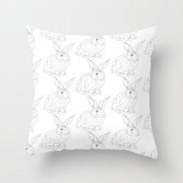 Bunny Rabbit Pattern Minimal Shabby Chic Girls Room Throw Pillow