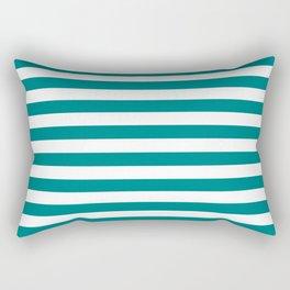Horizontal Stripes (Teal/White) Rectangular Pillow