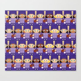 Baseball Purple - Super cute sports stars Canvas Print