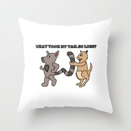 Unique & Funny Ringtail Cat Tshirt Design Long Tail Throw Pillow
