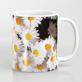 Brilliant White Daisies On Black Floral Art Coffee Mug