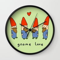 gnome Wall Clocks featuring Gnome Love by Sophie Corrigan