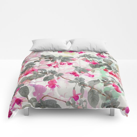 Rainbow Fuchsia Floral Pattern - with grey Comforters