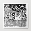 Sailboat Night at Sea - Black and White Zentangle Illustration by vermontgreetings