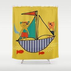 Pirate boat yellow Shower Curtain