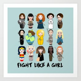 Kokeshis Fight like a girl Art Print