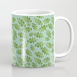 Green Off Set Cut Out Leaf on a Green Background Coffee Mug