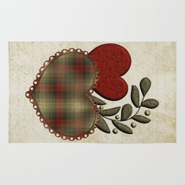 Red & Green Plaid Heart Love Letter Rug