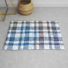 Distressed Blue and White Plaid Rug