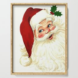 Cute laughing vintage santa Serving Tray
