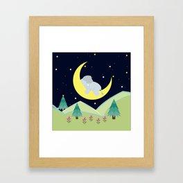Elephant on the moon , nursery decor , Framed Art Print