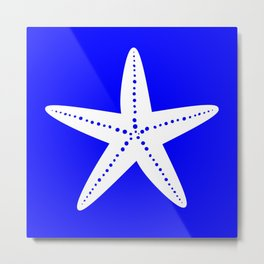 Starfish (White & Blue) Metal Print