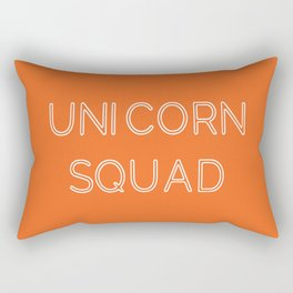 Unicorn Squad - Orange and White Rectangular Pillow