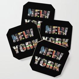 New York (photo type on black) Coaster