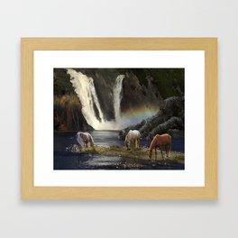 Waterfall Fantasy Herd Framed Art Print