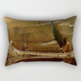 "N C Wyeth Vintage Western Painting ""Birch Bark Canoe"" Rectangular Pillow"