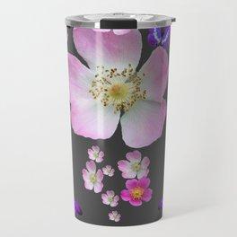 PURPLE BUTTERFLIES & PINK ROSES GREY MONTAGE Travel Mug