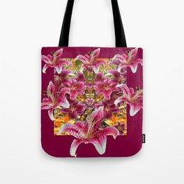BURGUNDY STAR GAZER LILY FLOWER  ART Tote Bag