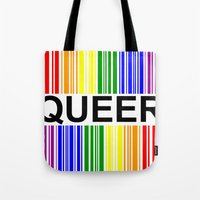 queer Tote Bags featuring QUEER UPC by SLANTEDmind.com