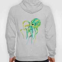 Octopus, yellow, turquoise green octopus lover art Hoody