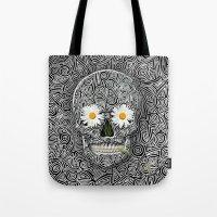 calavera Tote Bags featuring Calavera by AkuMimpi