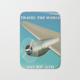 Travel the world - Go by air vintage poster Bath Mat