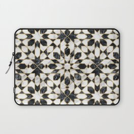 Black and white marble Moroccan mosaic Laptop Sleeve