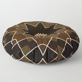 Brown Shades Quilt Star Pattern Floor Pillow