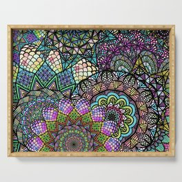 Colorful Floral Mandala Pattern with Geometric Drawings Serving Tray