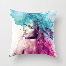 Woman in Splash of Watercolor Throw Pillow