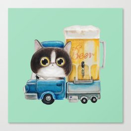 A cat in a beer truck Canvas Print