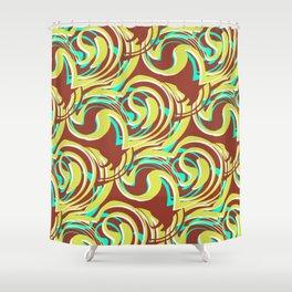Ella - Retro Swirls Green Brown Shower Curtain