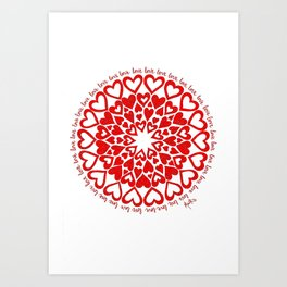 Red Love Heart Mandala Art Print