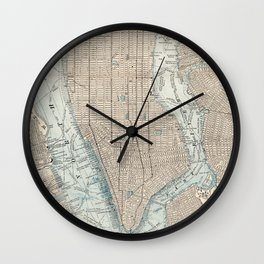 Vintage Map of New York City (1893) Wall Clock
