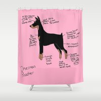 doberman Shower Curtains featuring Doberman by Lindsay Beth
