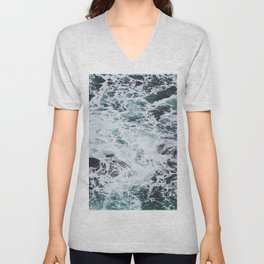 OCEAN - ROCKS - FOAM - SEA - PHOTOGRAPHY - NATURE Unisex V-Neck
