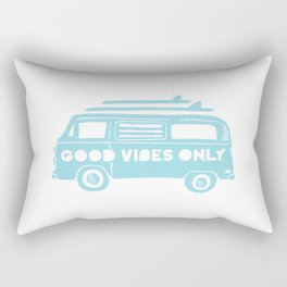 Good Vibes Only retro surfing Camper Van Rectangular Pillow