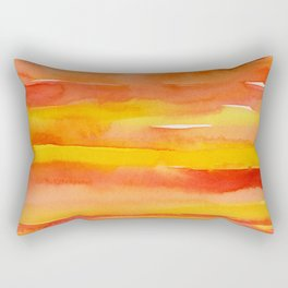 Watercolor Pattern Abstract Summer Sunrise Sky on Fire Rectangular Pillow