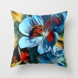 Flower with Bee Throw Pillow