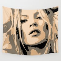 moss Wall Tapestries featuring KATE MOSS by Christophe Chiozzi