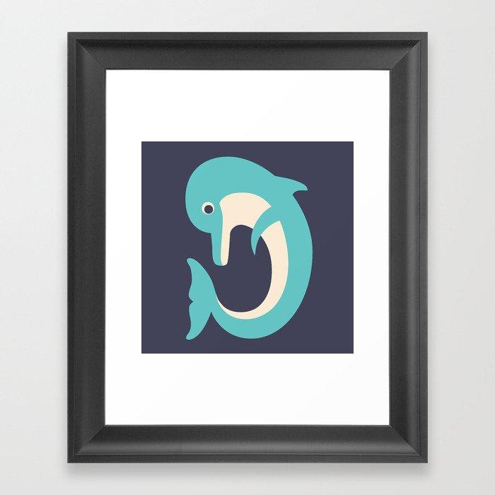 Letter D // Animal Alphabet // Dolphin Monogram Framed Art Print