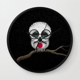 Baby Owl with Glasses and Japanese Flag Wall Clock