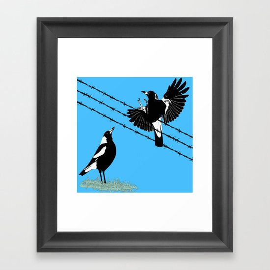 Magpies: learn to fly Framed Art Print