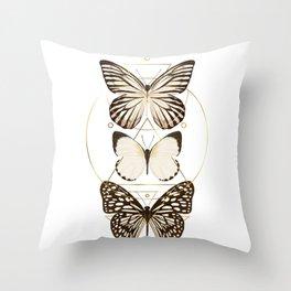 butterflies and gold geometry Throw Pillow