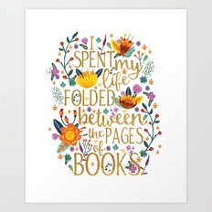 Folded Between the Pages of Books - Floral Art Print